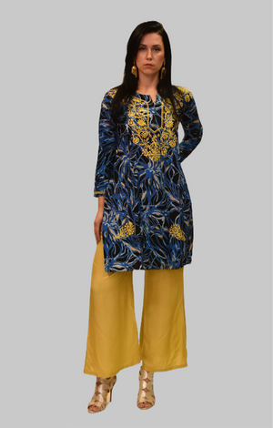 Cotton Printed Crow Black With Yale Blue Embroidered Tunic