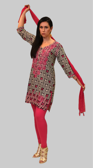 Cotton Black And White With Cerise Pink Embroidered Flowers Kurti