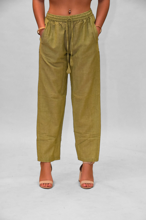 Unisex Cotton Sage Green  Straight  pants