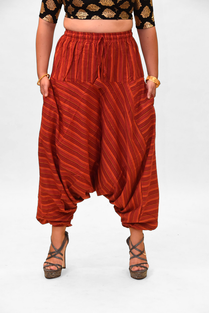 Unisex Cotton Chili Red Striped Harem pants