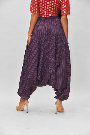 Unisex Cotton Plum Purple Striped Harem pants