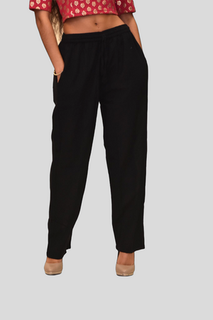 Unisex Cotton Jade  Black Straight  pants