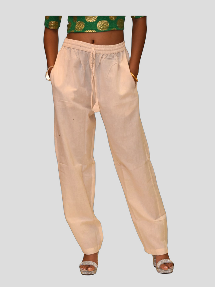 Unisex Cotton Macaroon Cream Straight  pants