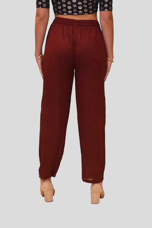 Unisex Cotton Wine Red Straight  pants