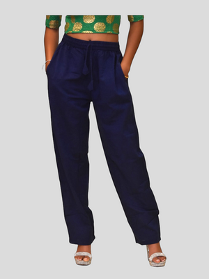 Unisex Cotton Space Blue Straight  pants