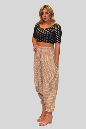 Unisex Cotton Walnut Cream Striped Harem pants