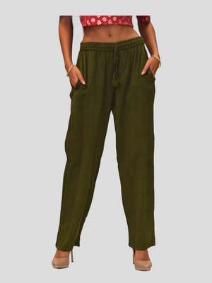 Unisex Cotton Army Green Straight  pants