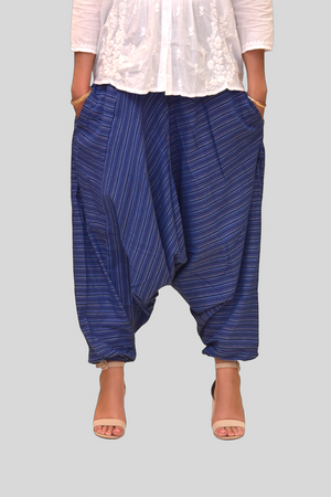 Unisex Cotton Dutch Boy Blue Striped Harem pants