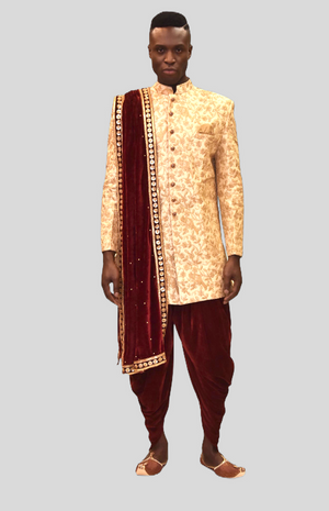 Silk Heavy Embroidered Ivory Cream Sherwani / Jacket