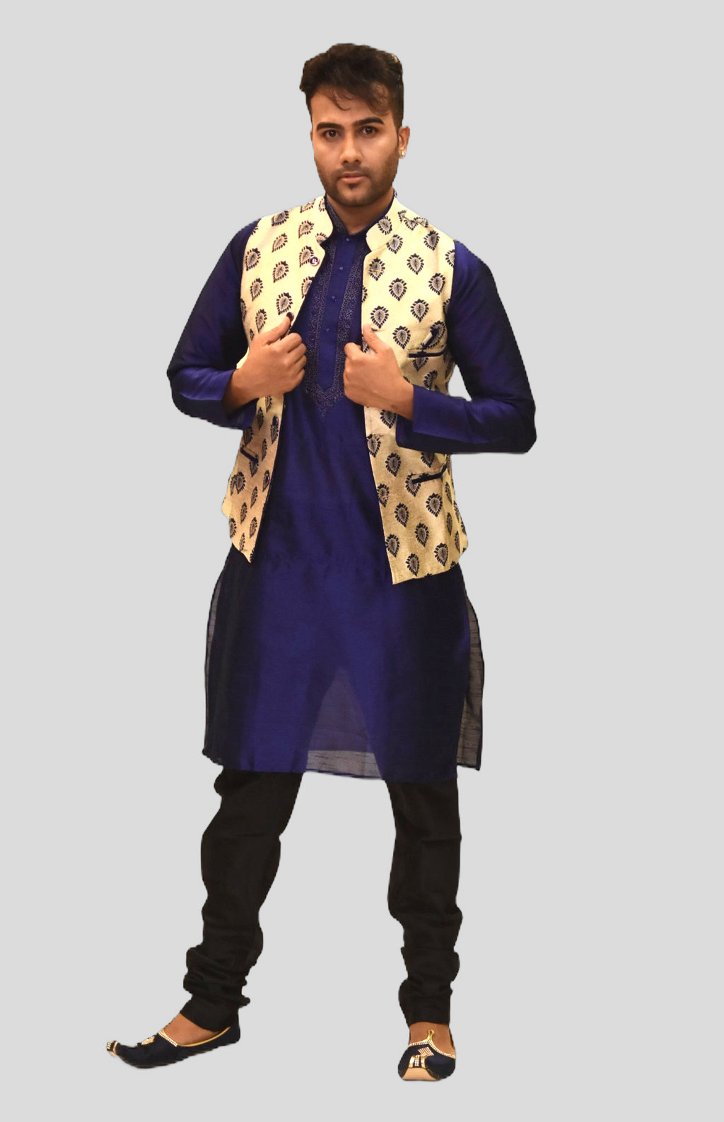 Silk Eggnog White With Navy Blue Leaves Printed Modi Vest