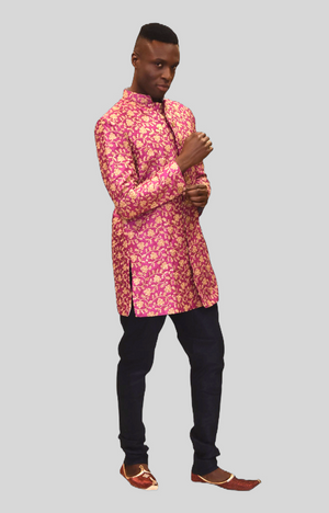 Silk Heavy Embroidered Hot Pink Sherwani  / Jacket
