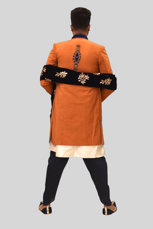 Silk Embroidered Tiger Orange Sherwani  / Jacket