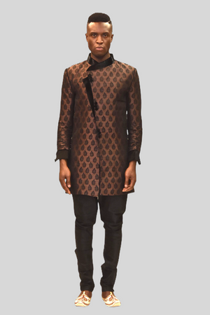 Silk Brocade Brunette Brown Sherwani  / Jacket