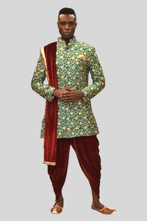 Silk Dark Jungle Green Heavy Embroidered Sherwani  / Jacket