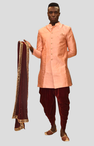 Silk Salmon Pink Self Floral Printed Sherwani / Jacket