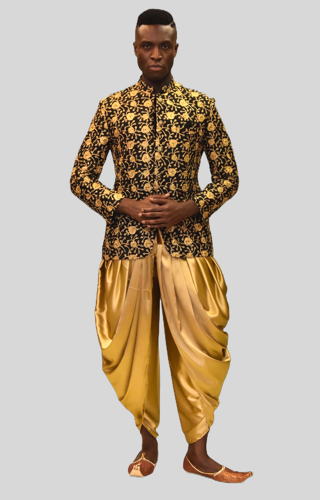 Silk Coal Black With Gold Embroidered Short Jacket / Bandhgala