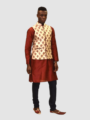 Silk Eggnog White With Maroon Red Leaves Printed Modi Vest