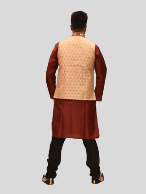 Silk Banana Yellow With Barn Red Embroidered Collar Modi Vest
