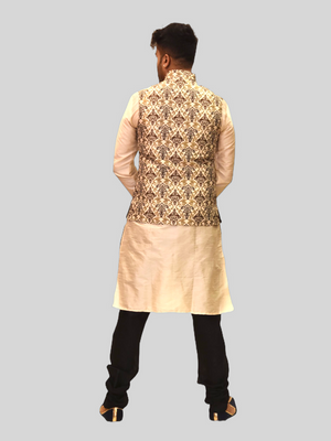 Silk Brocade Mocha Brown And French Gold Printed Modi Vest