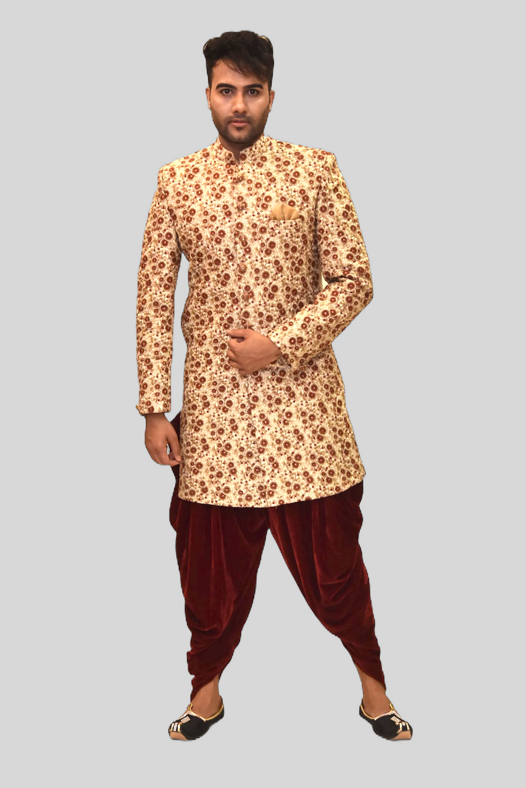 Silk Gardenia Cream With Cherry Red Heavy Embroidered Sherwani / Jacket