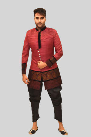 Silk Apple Peachy Red Sherwani  / Jacket