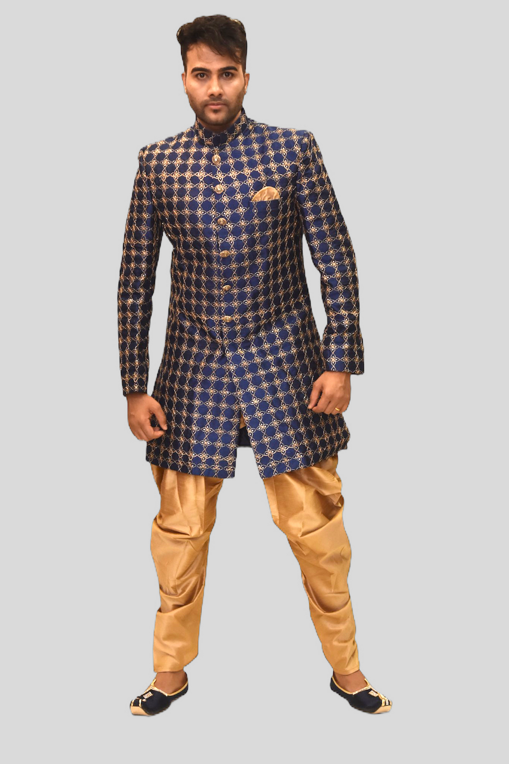 Silk Royal Blue Heavy Embroidered Sherwani  / Jacket