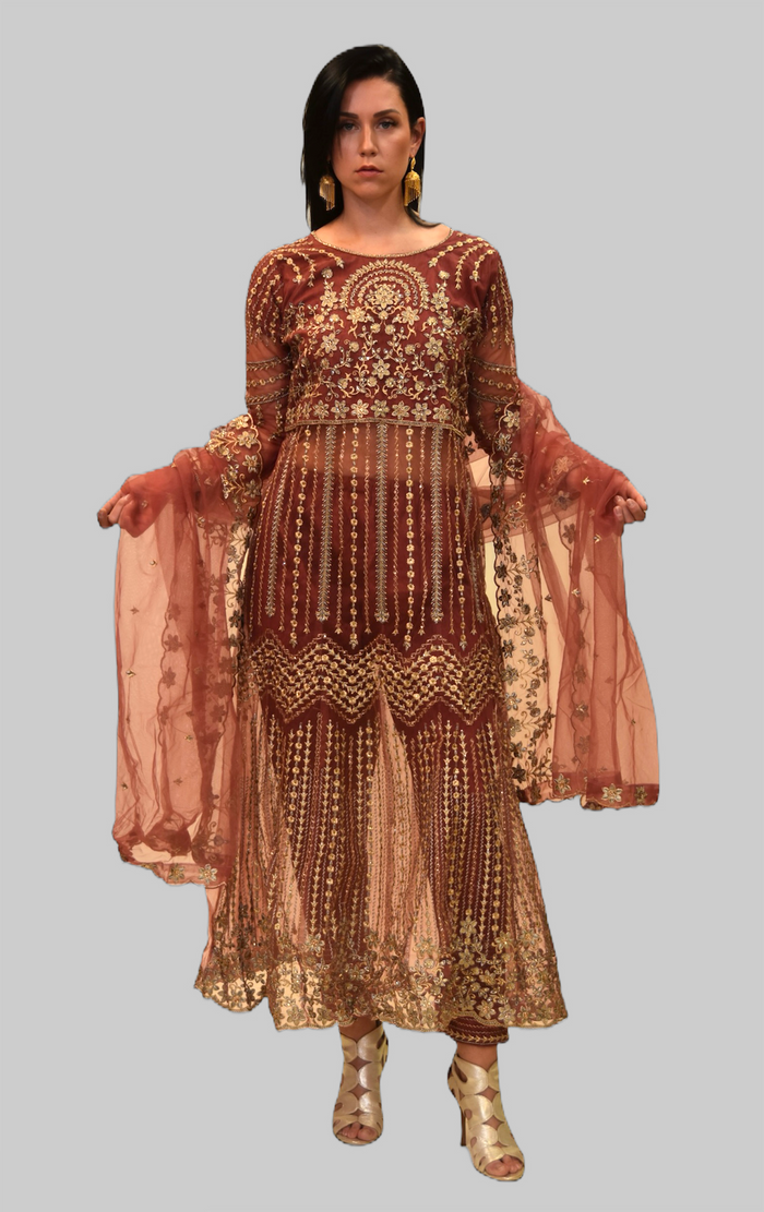 Silk Georgette Rust Red Fully Embroidered Gown
