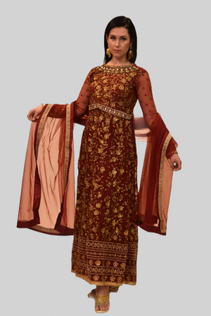 Silk Georgette Maroon Red Heavy Embroidered Gown