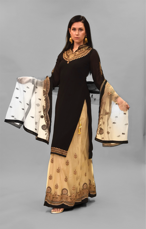 Embroidered Silk Ink Black With Ivory Skirt Anarkali Split Lehenga