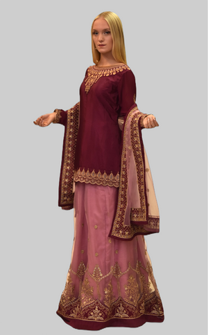 Embroidered Silk Byzantium Purple With Thulian Pink Skirt Anarkali Split Lehenga