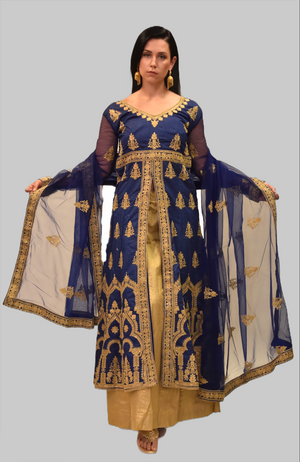 Embroidered Silk Yale Blue Split Top With Tuscan Gold Skirt Anarkali Split Lehenga