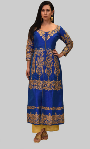 Silk Egyptian Blue Embroidered Gown / Jacket