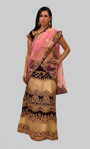 Silk Ivory Cream With Raisin Purple Embroidered Lehenga Set