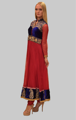 Silk Georgette Cerise Pink With Velvet Navy Blue Yoke Embroidered Anarkali / Gown