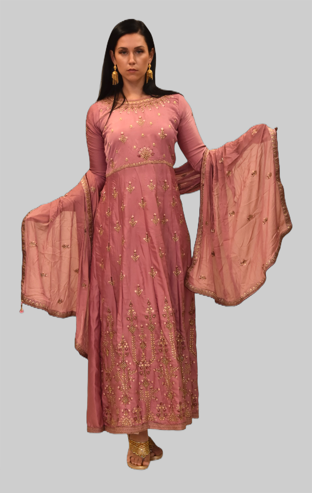 Silk Carnation Pink Embroidered Gown