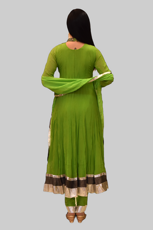 Silk Georgette Pear Green Embroidered Anarkali / Gown