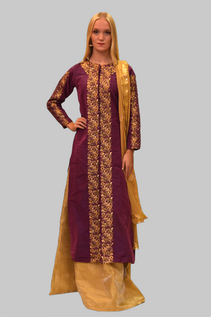 Embroidered Silk Grape Purple With Gold Skirt Anarkali Split Lehenga