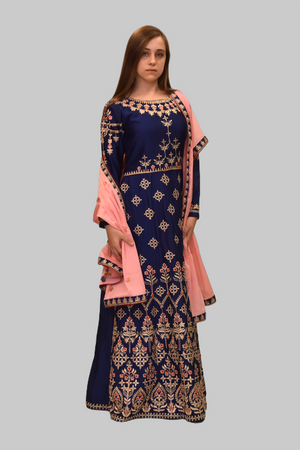 Silk Sapphire Blue Embroidered Gown