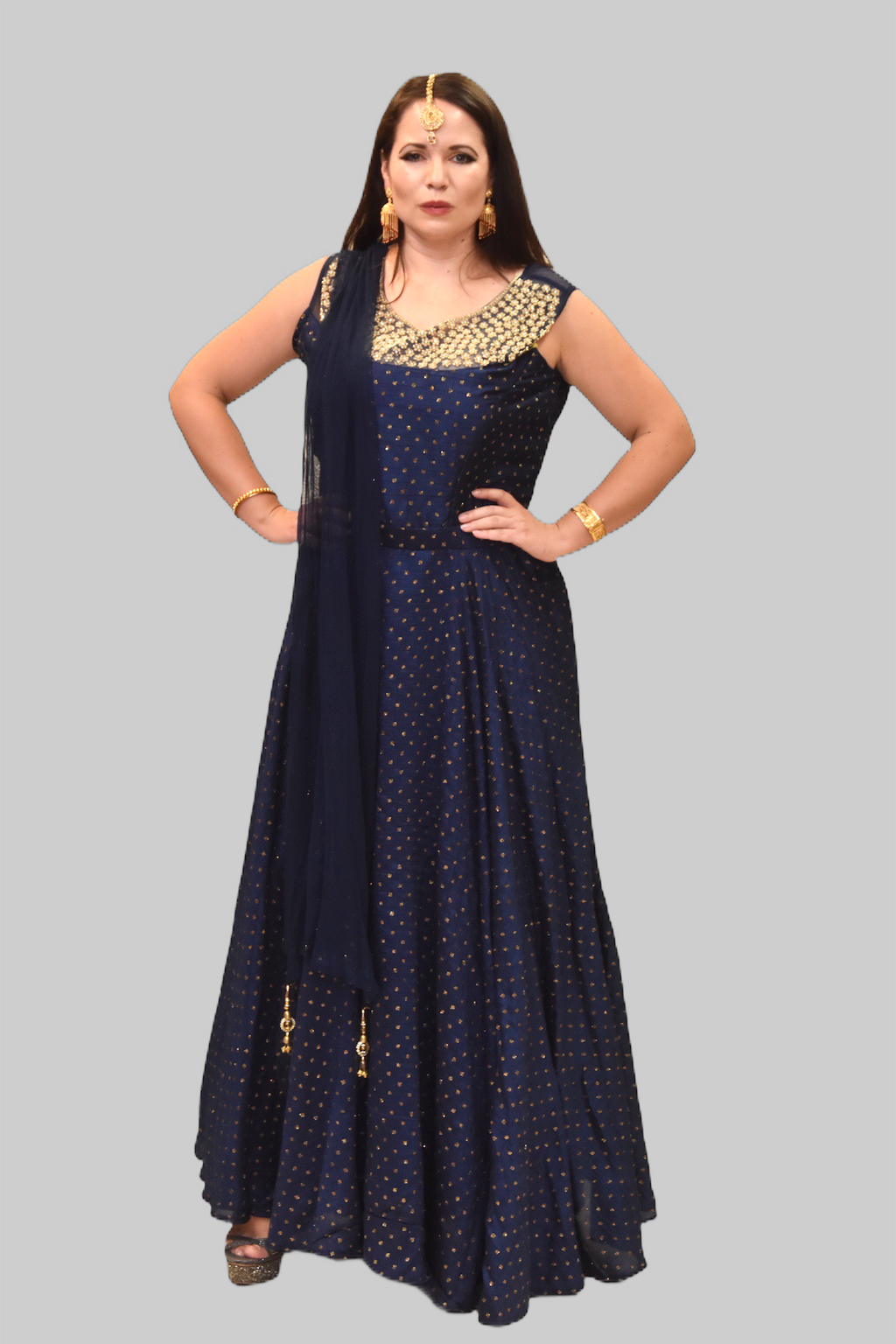 Silk Royal Blue Embroidered Gown