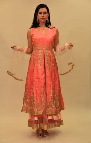 Silk Punch Pink Embroidered Gown