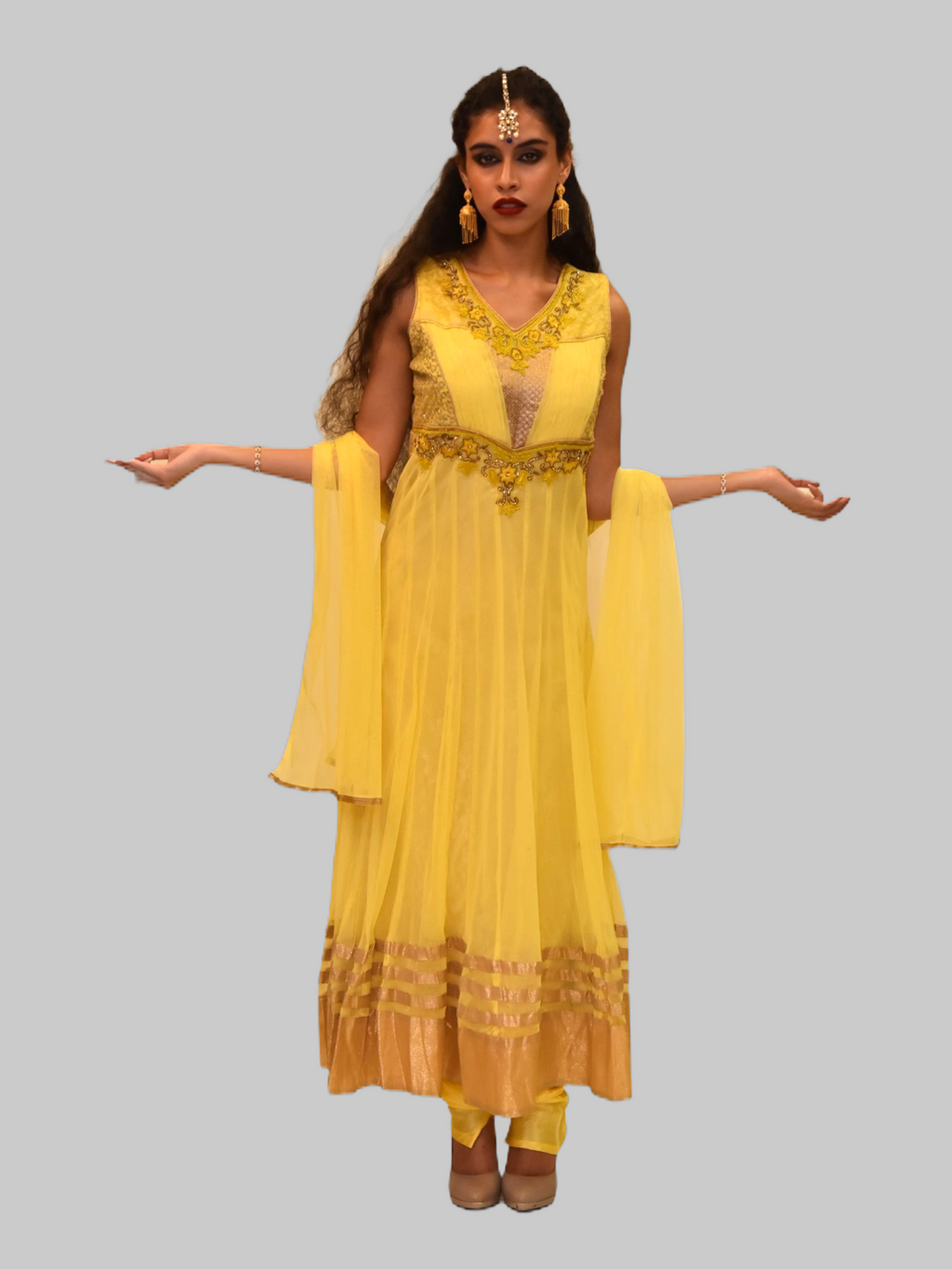 Silk Georgette Daffodil Yellow Embroidered Anarkali / Gown
