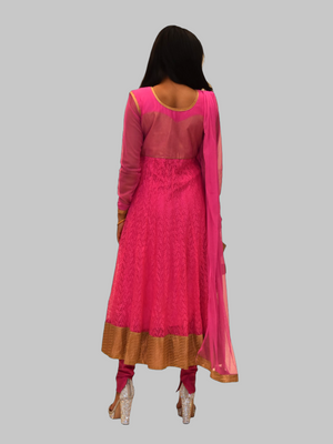 Georgette Net Fuchsia Pink Embroidered Anarkali / Gown