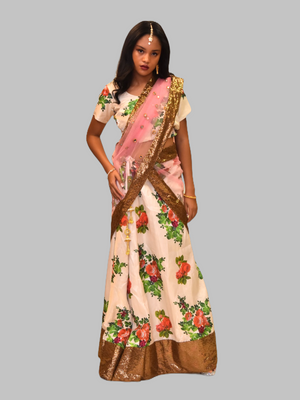 Silk Macaroon Cream White floral Printed Lehenga Set