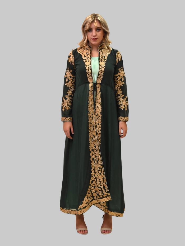 Silk Tea Green With Detachable Embroidered Pine Green Jacket Gown