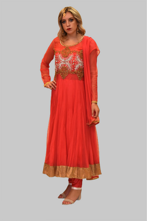 Silk Georgette Imperial Red Embroidered Anarkali / Gown
