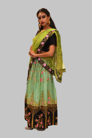 Silk Tea Green Floral Embroidered Lehenga Set
