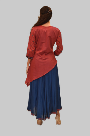 Silk Persian Red And Yale Blue Mirror Work Gown