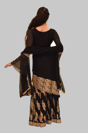 Embroidered Silk Coal Black Asymmetric Top With Embroidered Skirt Anarkali Split Lehenga