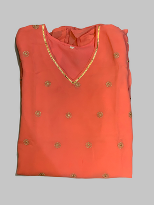 Chiffon Cotton Two Toned Salmon Pink Striped With Embroidered Kurti