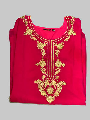 Cotton Chiffon Rosewood Red Embroidered Kurti